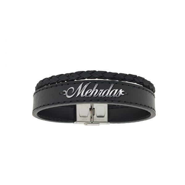 دستبند نقره و چرم اسم مهرادس مدل Givi1717
