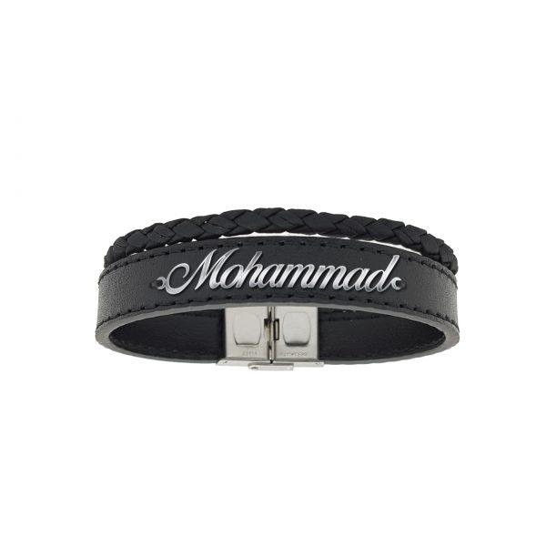 دستبند نقره و چرم اسم محمد مدل Givi1719