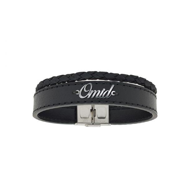دستبند نقره و چرم اسم امید مدل Givi1723