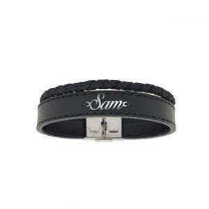 دستبند نقره و چرم اسم سام مدل Givi1728
