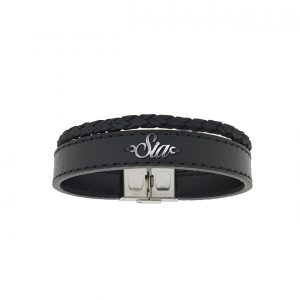 دستبند نقره و چرم اسم سیا مدل Givi1730