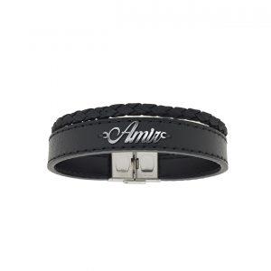 دستبند نقره و چرم اسم امیر مدل Givi1690