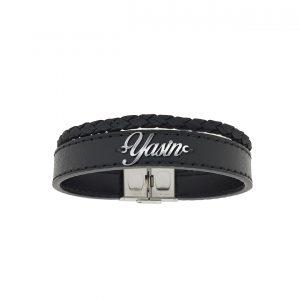 دستبند نقره و چرم اسم یاسین مدل Givi1735