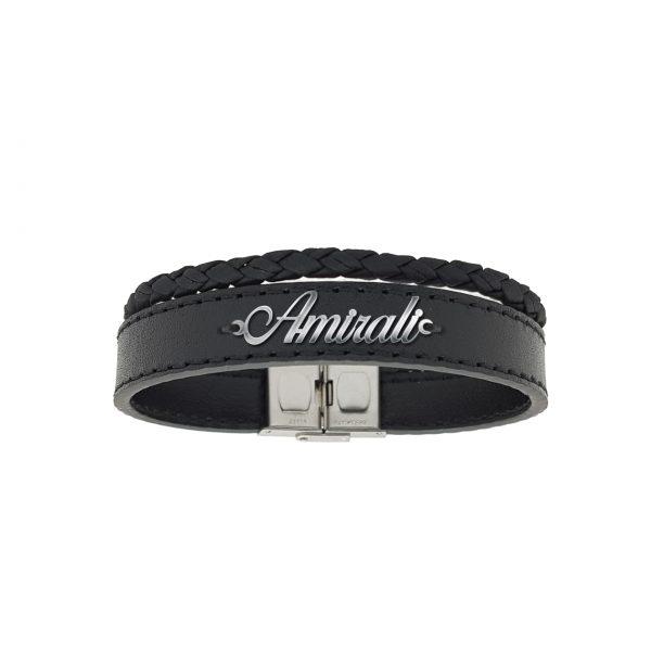 دستبند نقره و چرم اسم امیرعلی مدل Givi1691