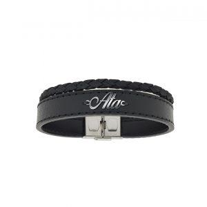 دستبند نقره و چرم اسم عطا مدل Givi1694