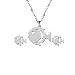 نيم ست نقره طرح ماهی مدل Givi2702