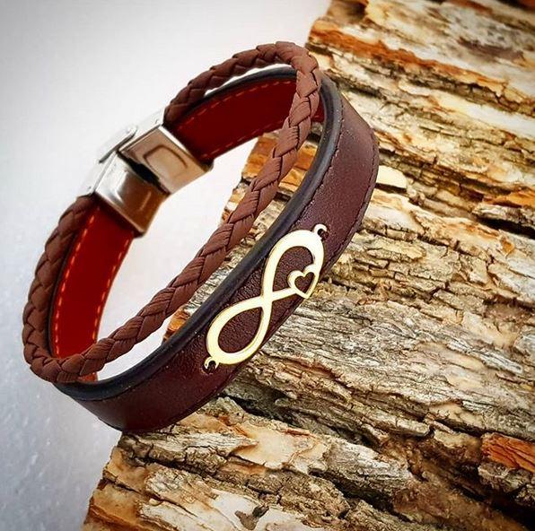 دستبند چرم طرح بینهایت134